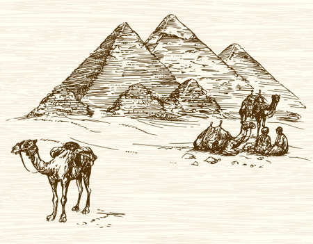 Pyramid of Khafre, Khufu, Menkaure, Cairo, Egypt. Hand drawn illustration.