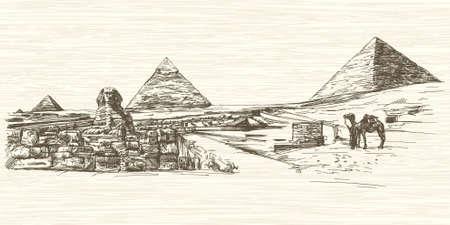Le Sphinx et pyramide de Khéphren, Le Caire, Egypte. Hand drawn illustration.