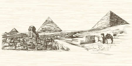 cheops: The Sphinx and Pyramid of Khafre, Cairo, Egypt. Hand drawn illustration. Illustration