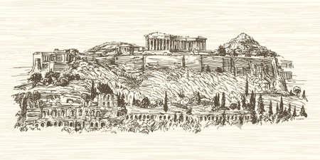Greece, Athens, Acropolis. Hand drawn illustration. Vettoriali