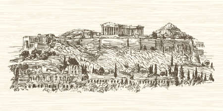 Greece, Athens, Acropolis. Hand drawn illustration. Stock Illustratie