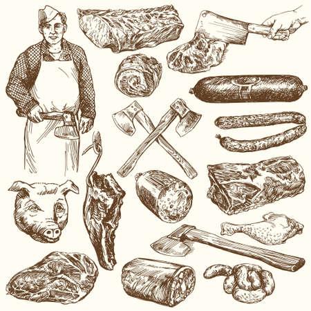 肉、肉屋。手描きの背景イラスト