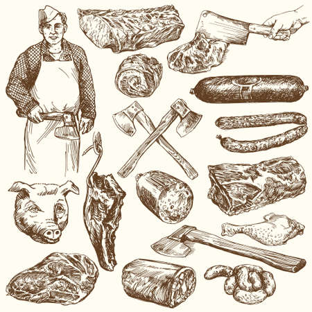 beef cuts: Meat, butcher. Hand drawn vector illustration