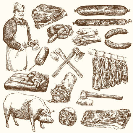 meat: Meat, butcher. Hand drawn vector illustration