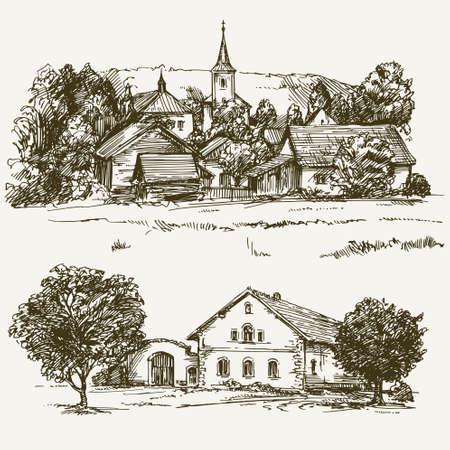 paysage de village rural, ferme. Hand Drawn réglé.