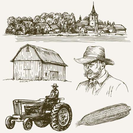 Bauernhof, ländlichen Dorf. Hand gezeichnet Sammlung.