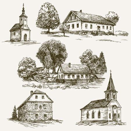 Ländliche Dorf Landschaft, Bauernhof. Hand gezeichnet gesetzt. Illustration