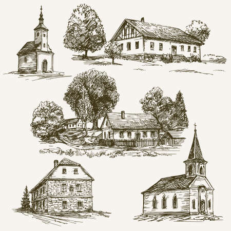 Rural village landscape, farm. Hand drawn set.
