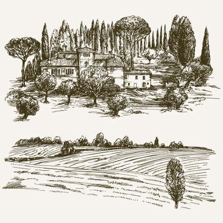 Paesaggio rurale con casa di campagna.