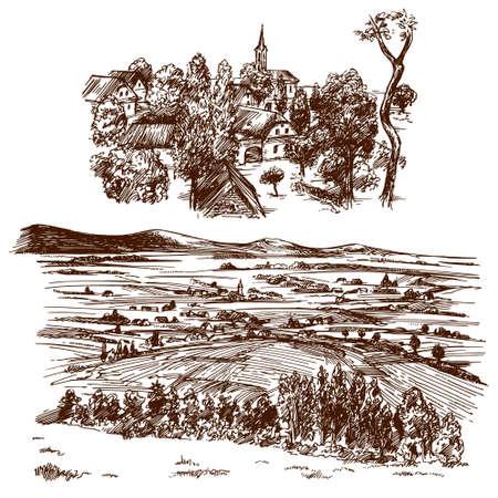 Ländliche Landschaft mit Landhaus. Illustration