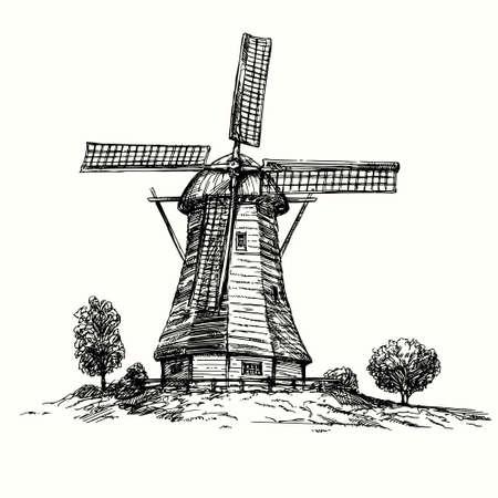 Holland-Windmühle. Hand gezeichnete Illustration Illustration
