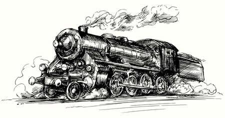 locomotive.Hand vapore disegnato illustrazione.