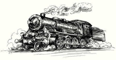 loco: Steam locomotive.Hand drawn illustration.