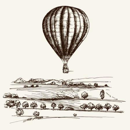 Heißluftballon über dem Feld. Hand gezeichnete Illustration.
