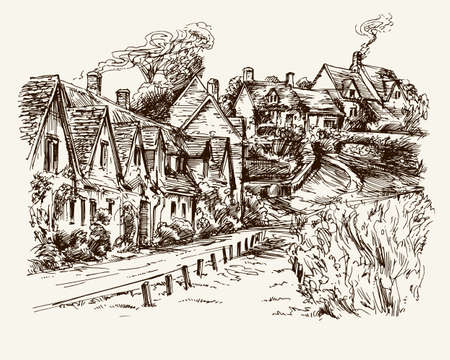 row houses: Houses of Arlington Row in the village of Bibury, England. Hand drawn illustration.