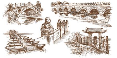 marco: Chinese traditional bridges. Hand drawn set. Illustration