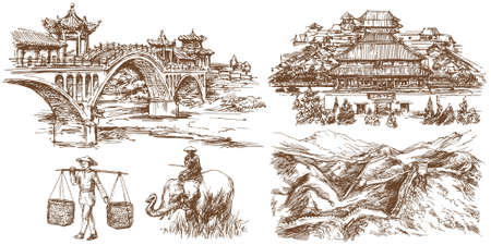 Chinese traditional bridges and architecture. Forbidden city. Hand drawn set. Illustration