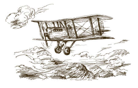 Hand drawn airplane. Vintage biplane.