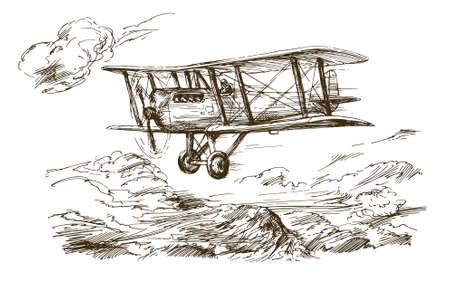 Hand getrokken vliegtuig. Vintage tweedekker.