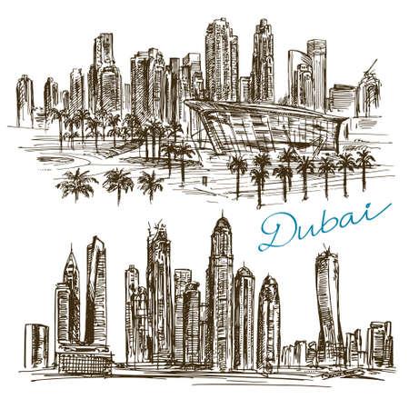 Dubai. Handgezeichnete Sammlung. Illustration