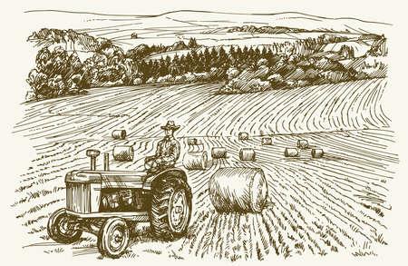Traktor im Feld. Hand gezeichnet Vektor-Illustration. Illustration
