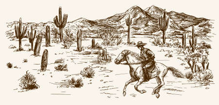 American wild west desert with cowboy - hand drawn illustration