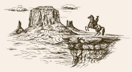 Americano, selvatico, deserto, occidentale, cowboy, disegnato, mano, illustrazione Vettoriali