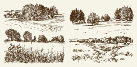 view: Rural landscape. Hand drawn set. Illustration