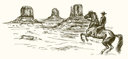 American wild west desert with cowboy - hand drawn illustration Фото со стока - 69807102