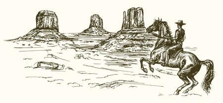 American wild west desert with cowboy - hand drawn illustration