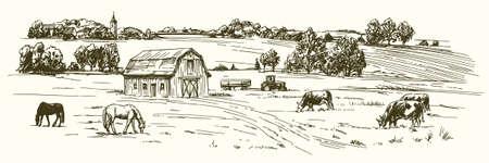 Kühe und Pferde auf der Wiese weiden lassen. Hand gezeichnete Illustration. Illustration
