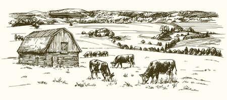 Kühe auf der Wiese. Scheune auf dem Hintergrund. Hand gezeichnete Illustration. Illustration