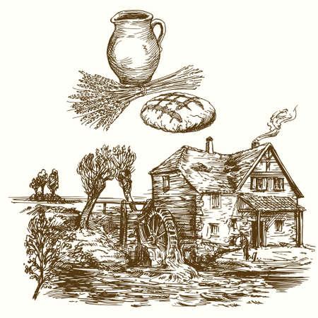 Alte Wassermühle. Hand gezeichnete Illustration.