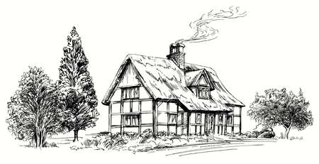 Hand drawn vector illustration - thatched roof stone cottage in England. Иллюстрация