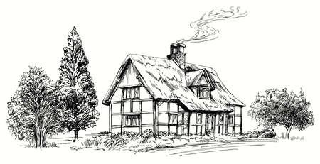 Mano vector dibujado - con techo de paja techo de piedra en Inglaterra. Ilustración de vector