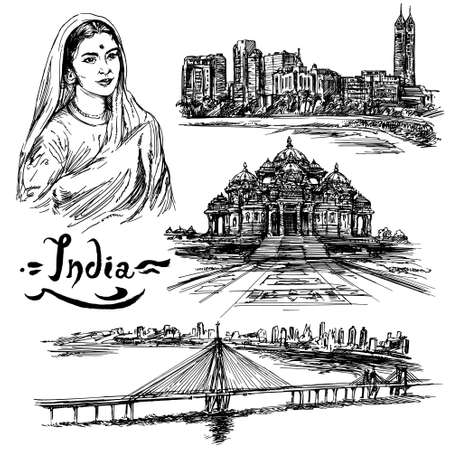Indien. Hand gezeichnetes Set.