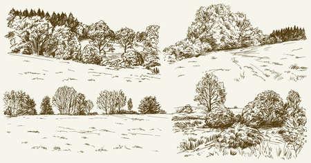 Landschaft im ländlichen Raum. Hand gezeichnet gesetzt.