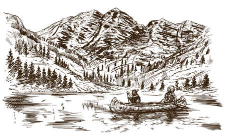 indios americanos: Salvaje oeste. Ilustración dibujada a mano. Vectores