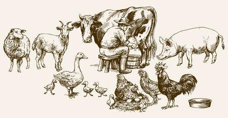 Farmer milking his cow. Farm animals. Vettoriali
