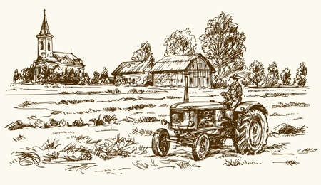 hay field: Tractor collecting haystack in the field. Hand drawn vector illustration.