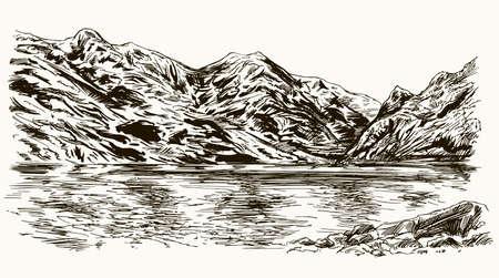 Berggipfel Landschaft mit See. Hand gezeichnete Illustration.