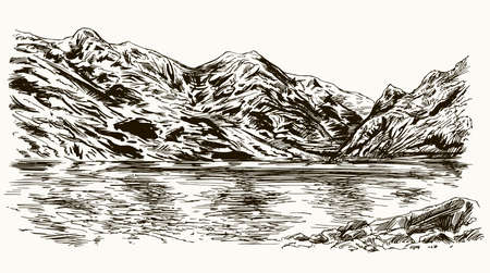 Mountain peaks landscape with lake. Hand drawn illustration. Illustration