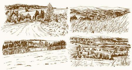 Rural landscapes. Hand drawn set Illustration