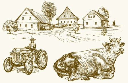 sketch: Farm, country village, tractor and cow. Hand drawn collection. Illustration