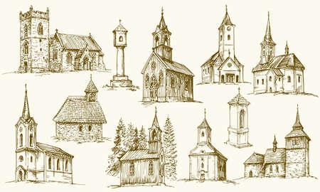 Satz von alten Landkirchen. Handgezeichnete Vektor-Illustration. Vektorgrafik
