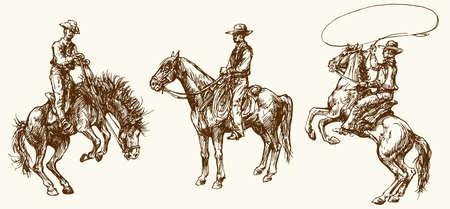 Cowboys. Conjunto dibujado a mano.