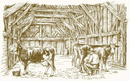 Koeien in een schuur. De koeien melken. Vector illustratie.