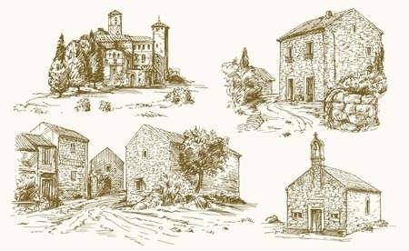 Italië, traditionele landelijke huizen. Hand getekende illustratie.