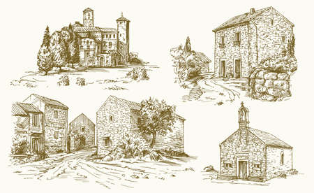 Italie, maisons rurales traditionnelles. Illustration dessiné à la main.