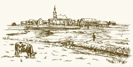 Cow grazing on meadow, landscape with rural village. Hand drawn illustration